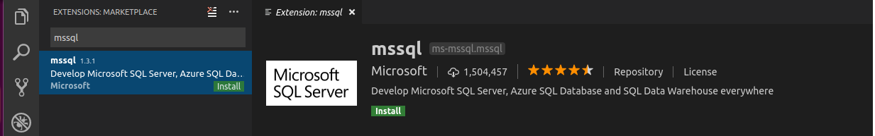 install extension mssql