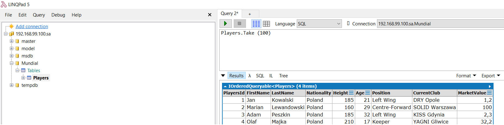 LINQPad 5 connected SQL Server