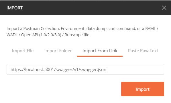 Import Swagger API do Postman