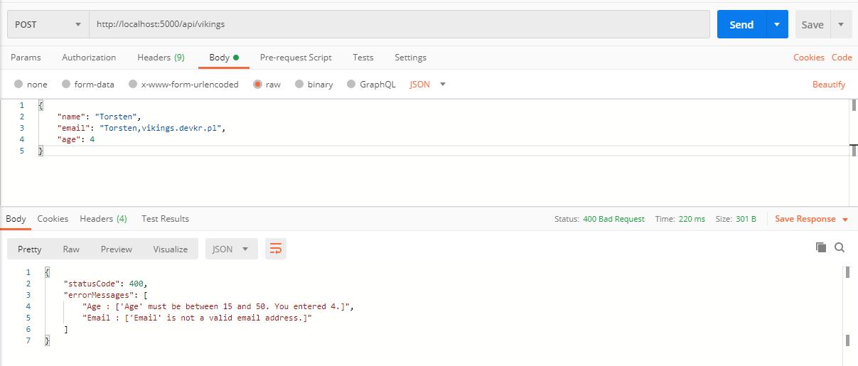 ErrorDetails HTTP 400 Response